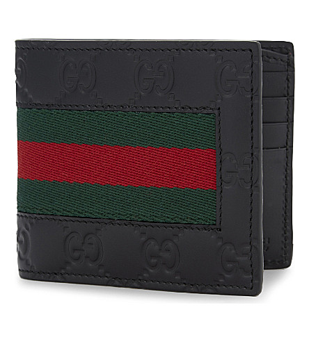 GUCCI Logo leather billfold wallet (Black+multi