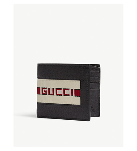 GUCCI Canvas striped leather wallet (Black