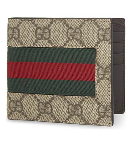 GUCCI Web GG supreme billfold wallet (Tan
