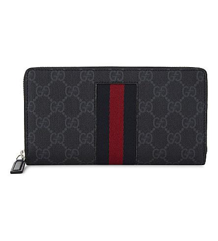 GUCCI Supreme zip around wallet (Red+black