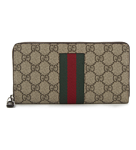 GUCCI Supreme zip around wallet (Tan