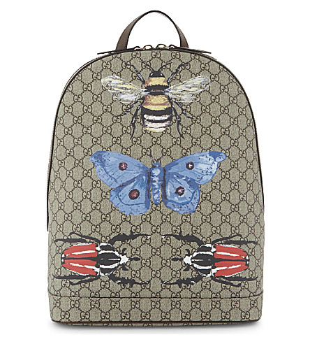GUCCI Insect print Supreme canvas backpack (Beige+/+multi