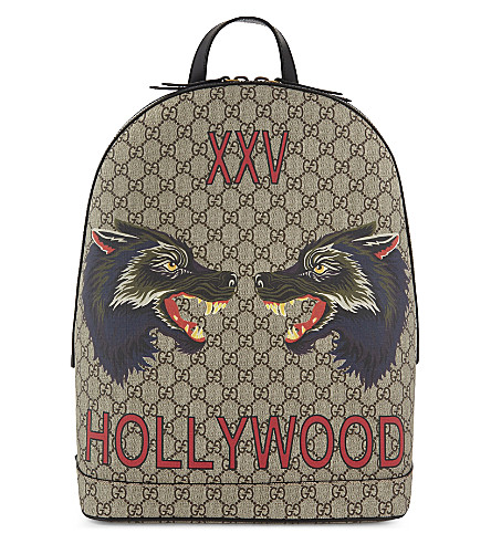 GUCCI Bestiary wolf GG Supreme backpack (Beige
