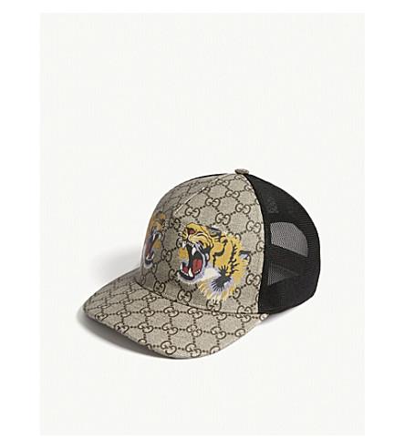 GUCCI Tiger logo cap (Dark+brown+black