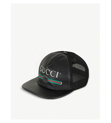 GUCCI 标志皮革和网格棒球帽 (黑色