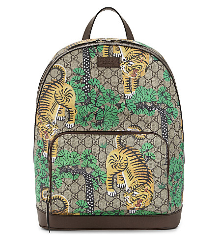 GUCCI Tiger print supreme canvas backpack (Tan multi