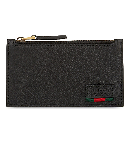 GUCCI Grained leather card wallet (Black