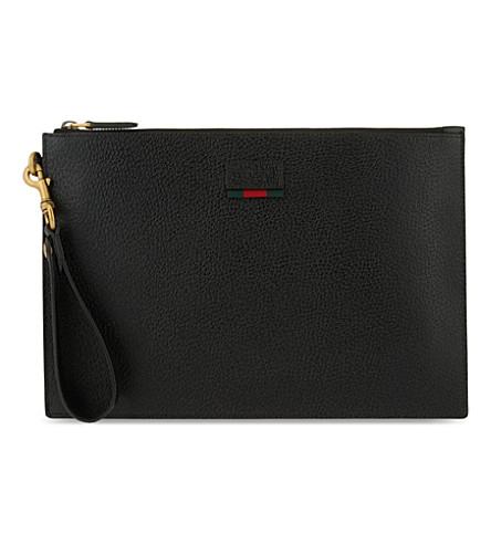 GUCCI 网页标签纹理皮革袋 (黑色