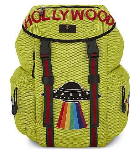 GUCCI Hollywood neon mesh backpack (Yellow