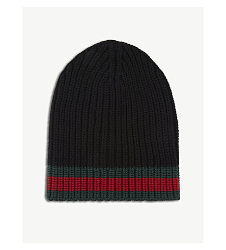 GUCCI Striped knitted wool beanie (Black