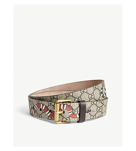 GUCCI Snake GG Supreme canvas belt (Beige
