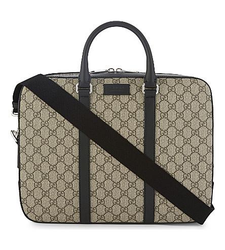 GUCCI GG Supreme briefcase (Tan black