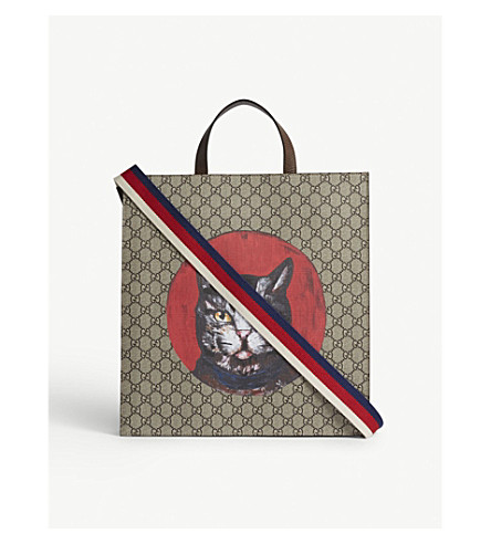GUCCI Bestiary cat leather tote (Beige