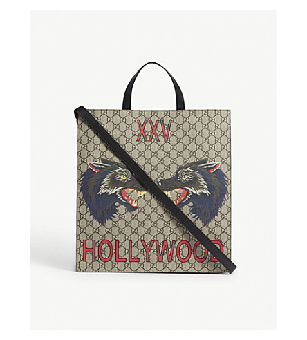 GUCCI Bestiary wolf leather tote (Beige