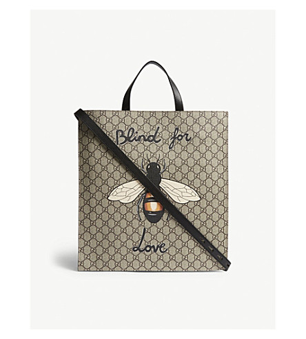 GUCCI Bestiary Bee GG Supreme canvas tote (Beige