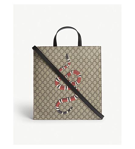 GUCCI Kingsnake soft GG supreme tote bag (Beige
