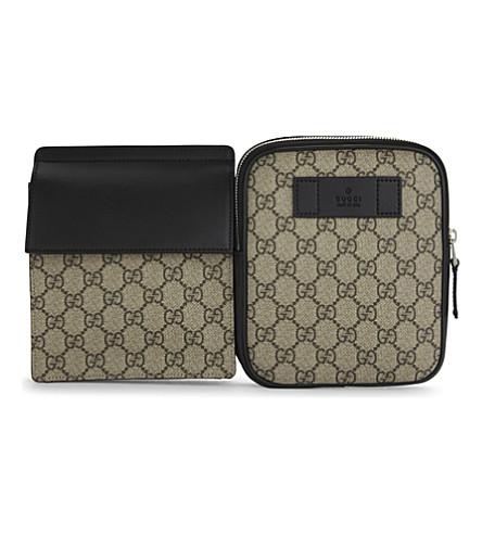 GUCCI Supreme canvas belt bag (Tan black