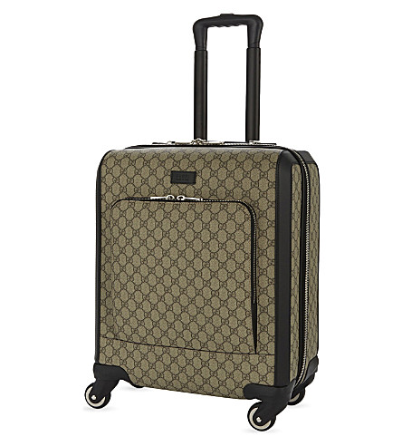 GUCCI GG Supreme four-wheel cabin suitcase 50cm (Tan+black
