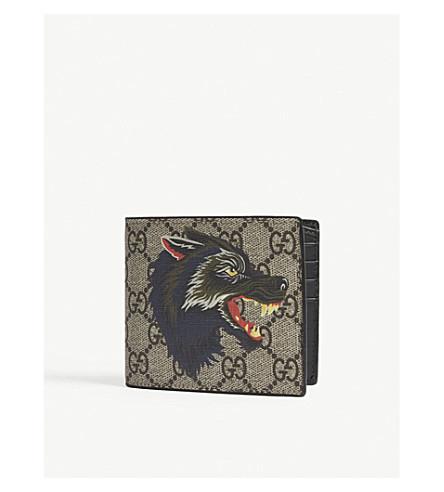 GUCCI Wolf print GG Supreme billfold wallet (Beige