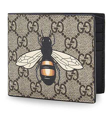 GUCCI Supreme bee leather billfold wallet (Beige