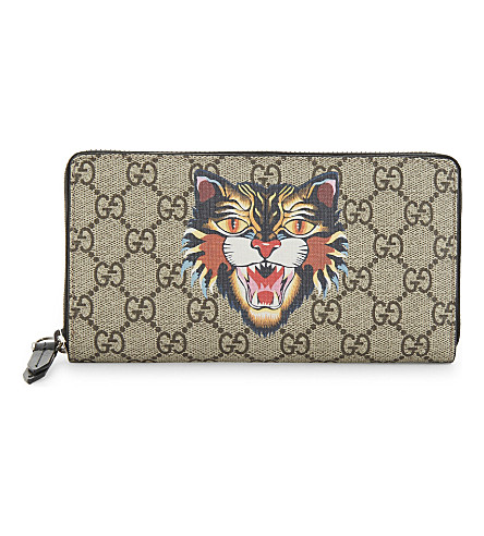 GUCCI Bestiary supreme canvas wallet (Tan