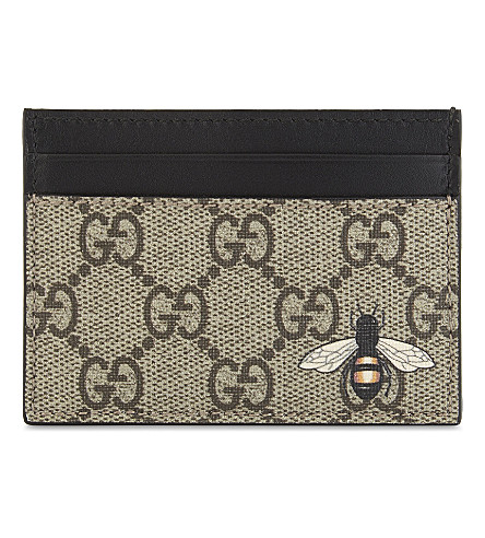 GUCCI Bestiary GG Supreme card holder (Tan