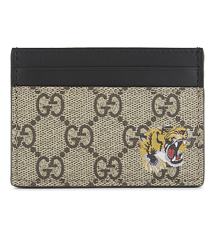 GUCCI Bestiary leather card holder (Tan