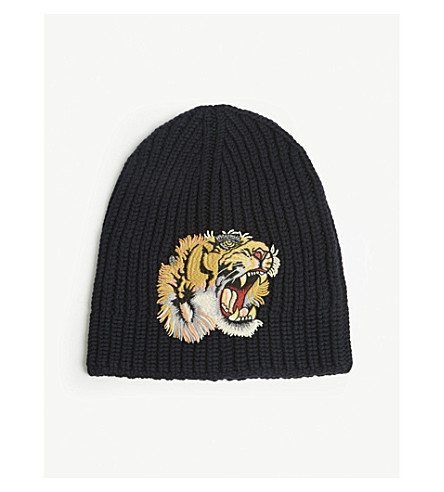 GUCCI Tiger patch knitted wool beanie (Mid+blue