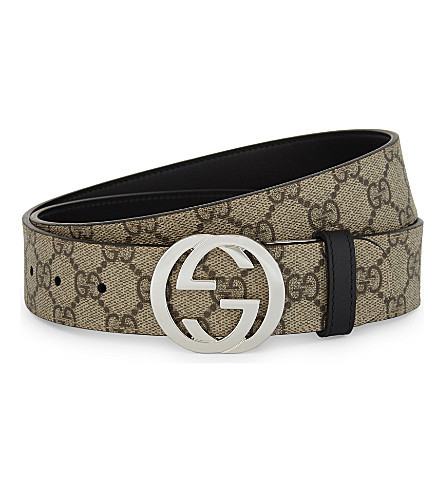 GUCCI Reversible GG Supreme buckle belt (Tan+/+blk