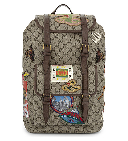 GUCCI Canvas stickers backpack (Beige