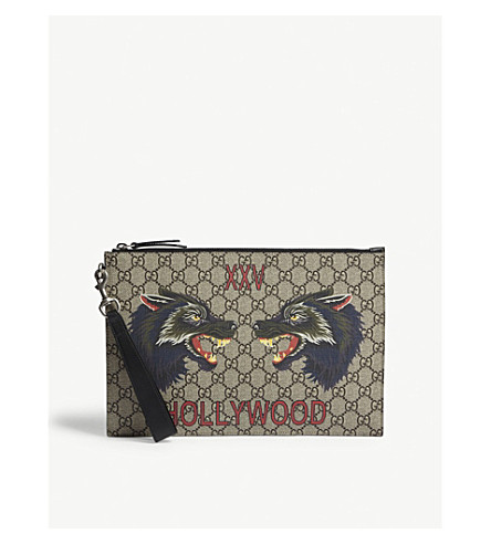 GUCCI Bestiary wolf GG Supreme pouch (Beige