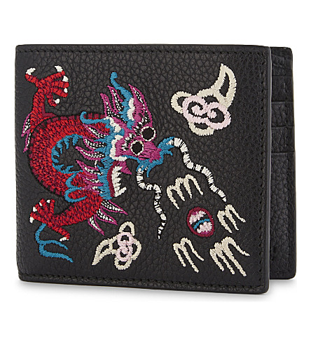 GUCCI Rev d'Orient dragon embroidered leather billfold wallet (Black