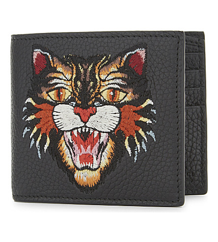 GUCCI Rev d'Orient tiger Embroidered leather billfold wallet (Black
