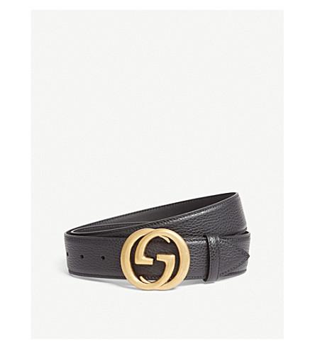 GUCCI Interlocking GG leather belt (Black+gold