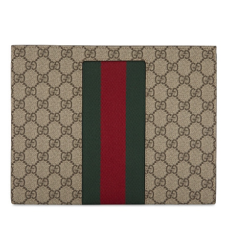 GUCCI Web stripe GG Supreme wash bag (Tan