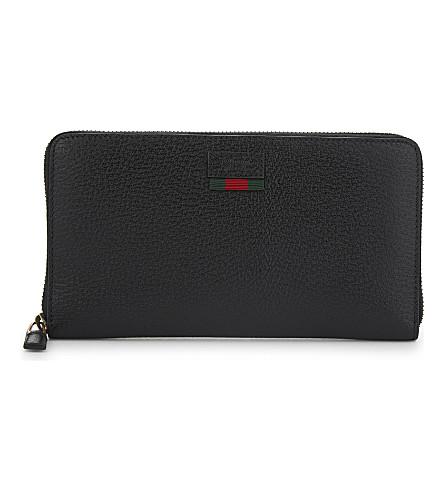 GUCCI Web stripe leather wallet (Black