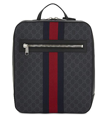GUCCI Web stripe Supreme GG canvas backpack (Black