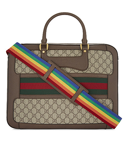 GUCCI Web stripe GG Supreme canvas briefcase (Beige+/+multi
