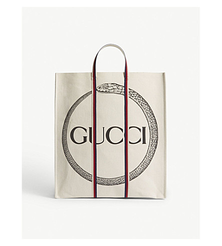 GUCCI Cabas snake canvas tote (Natural