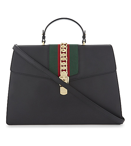 GUCCI Sylvie maxi leather shoulder bag (Black