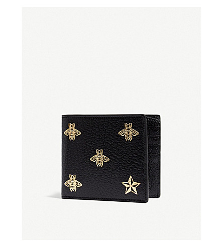 GUCCI Bee and star grained leather wallet (Black+gold