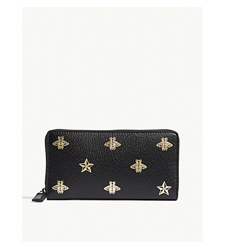GUCCI Bee Star zip-around leather wallet (Black+gold