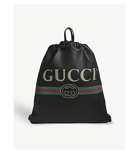 GUCCI Vintage logo leather drawstring backpack (Black