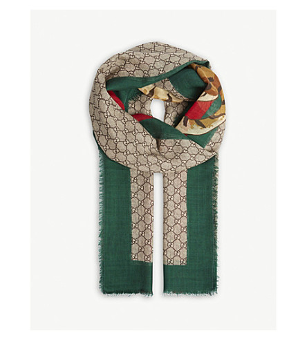 GUCCI GG Supreme tiger print wool scarf (Green+red
