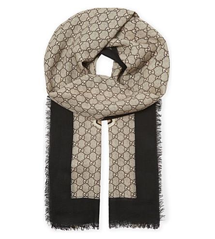 GUCCI Bee wool scarf (Black+yellow