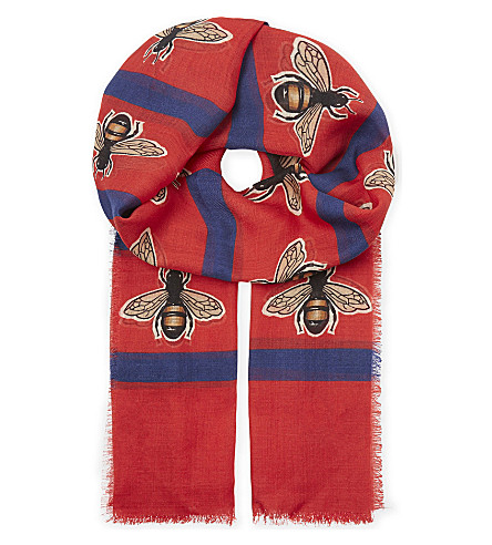 GUCCI Bee wool scarf (Red+blue