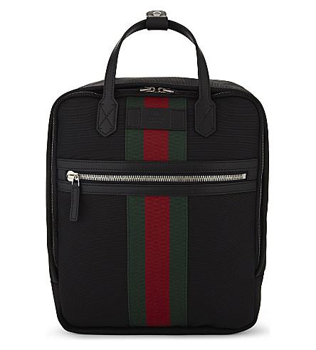 GUCCI Web stripe techno canvas backpack (Black