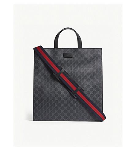 945658b0ff6fb GUCCI GG Supreme canvas tote bag (Black+black