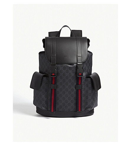 GUCCI GG Supreme and leather backpack (Black+black