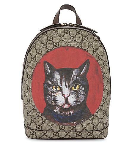 GUCCI Bestiary cat GG Supreme backpack (Beige